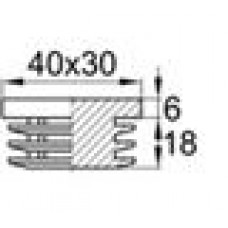 Заглушка пластиковая внутренняя с толстой шляпкой для труб прямоугольного сечения с внешними габаритами сечения 30х40 мм