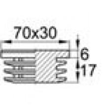 Заглушка пластиковая внутренняя с толстой шляпкой для труб прямоугольного сечения с внешними габаритами сечения 30х70 мм