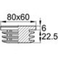 Заглушка пластиковая внутренняя с толстой плоской шляпкой для труб прямоугольного сечения с внешними габаритами сечения 60х80 мм