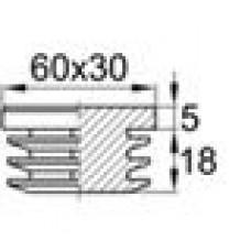 Заглушка пластиковая внутренняя для труб овального сечения с внешними габаритами сечения 30х60 мм и толщиной стенки трубы 1.5-4.5 мм.