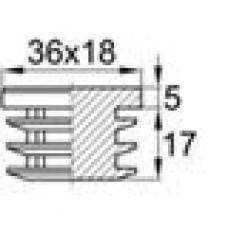 Заглушка пластиковая внутренняя для труб овального сечения с внешними габаритами сечения 18x36 мм