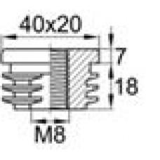 Заглушка пластиковая внутренняя с пластиковой резьбой М8 для труб овального сечения с внешними габаритами сечения 20х40 мм