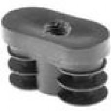 Заглушка пластиковая внутренняя с пластиковой резьбой М10 для труб овального сечения с внешними габаритами сечения 20х40 мм