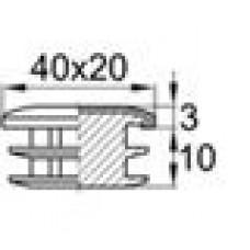 Заглушка пластиковая внутренняя с металлической хромированной шляпкой для труб овального сечения с внешними габаритами сечения 20х40 мм и толщиной стенки трубы 1.0-2.5 мм.