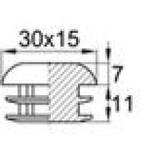 Заглушка пластиковая внутренняя для труб овального сечения с внешними габаритами сечения 15х30 мм