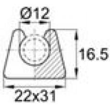 Подпятник пластиковый для труб или прутков круглого сечения с внешним диаметром сечения 12 мм