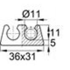 Подпятник пластиковый двойной для труб или прутков круглого сечения с внешним диаметром сечения 11 мм