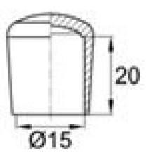 Заглушка пластиковая наружная для труб круглого сечения с внешним диаметром сечения 15 мм и любой толщиной стенки.