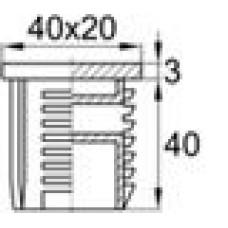 Заглушка пластиковая внутренняя с отверстием для труб полуовального сечения с внешними габаритами сечения 20х40 мм