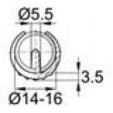 Опора пластиковая универсальная для трубы круглого сечения с внешним диаметром 14-16 мм, с выступом для фиксации