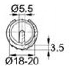Опора пластиковая универсальная для трубы круглого сечения с внешним диаметром 18-20 мм, с выступом для фиксации