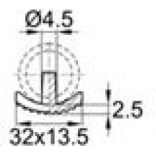 Подпятник двойной пластиковый с основанием 13.5x33 мм под отверстия диаметром 4.5 мм.