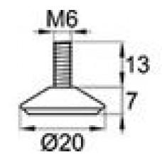 Опора резьбовая с металлическим резьбовым стержнем М6х13.