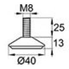Опора резьбовая с металлическим резьбовым стержнем М8х25.