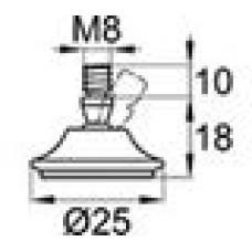 Опора резьбовая, шарнирная с круглым основанием диаметром 25 мм и металлической резьбой М8х10