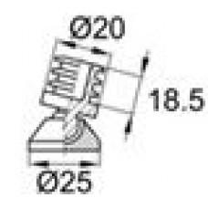 Опора шарнирная пластиковая с круглым основанием диаметра 25 мм и пластиковым стержнем с ребрами для трубы круглого сечения с внешним диаметром 20 мм и толщиной стенки 1.5 мм (поставляется в разобранном виде).