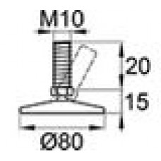 Опора резьбовая шарнирная с круглым основанием диаметром 80 мм и металлической резьбой М10х20