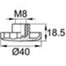 Ручка-фиксатор с пластиковой лепестковой рукояткой диаметром 40 мм и резьбовым отверстием M8
