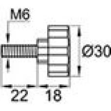 Ручка-фиксатор с пластиковой лепестковой рукояткой диаметром 30мм и металлической резьбой М6х22