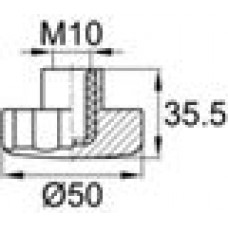 Ручка-фиксатор с пластиковой лепестковой рукояткой диаметром 50 мм и резьбовым отверстием M10
