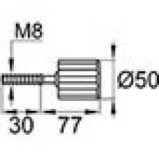 Ручка-фиксатор с пластиковой лепестковой рукояткой диаметром 50 мм и металлической оцинкованной резьбой М8х30