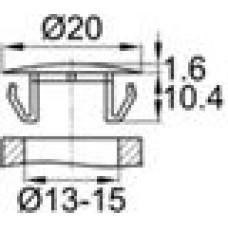 Заглушка пластиковая со шляпкой толщиной 1.6 мм и диаметром 20 мм для отверстия в листовом металле диаметром от 13 мм до 15 мм.