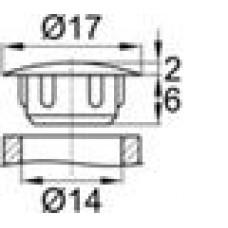 Заглушка пластиковая с тонкой шляпкой 16 мм для отверстия диаметром 14 мм.