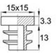 Заглушка пластиковая внутренняя с толстой шляпкой для труб квадратного сечения с внешними габаритами 15х15 мм