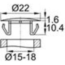 Заглушка пластиковая со шляпкой толщиной 1.6 мм и диаметром 22 мм для отверстия в листовом металле диаметром от 15 мм до 18 мм.