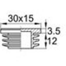 Заглушка пластиковая внутренняя с декоративной шляпкой для труб прямоугольного сечения с внешними габаритами сечения 15х30 мм и толщиной стенки трубы 0.8-2.5 мм.