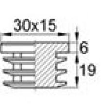 Заглушка пластиковая внутренняя с толстой шляпкой для труб прямоугольного сечения с внешними габаритами сечения 15х30 мм