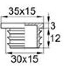 Заглушка пластиковая внутренняя для труб овального сечения с внешними габаритами сечения 15х30 мм.