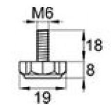 Опора резьбовая с металлическим оцинкованным резьбовым стержнем М6х18 и шестигранным пластиковым основанием 19 мм.