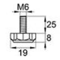 Опора резьбовая с металлическим оцинкованным резьбовым стержнем М6х25 и шестигранным пластиковым основанием 19 мм.