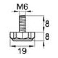 Резьбовая опора М6х8 с шестигранным основанием 19 мм.