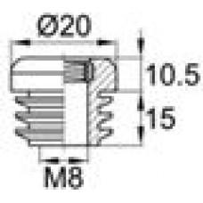 Заглушка пластиковая внутренняя с ребрами и внутренней металлической резьбой М8.