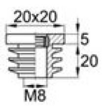 Заглушка пластиковая внутренняя с ребрами и металлической резьбой М8 для труб квадратного сечения 20х20 мм и толщиной стенки трубы 0.5-2.0 мм.