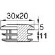 Заглушка пластиковая внутренняя с декоративной шляпкой для труб прямоугольного сечения с внешними габаритами сечения 20х30 мм и толщиной стенки трубы 1.5-3.5 мм.