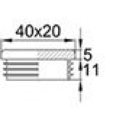 Заглушка прямоугольная 20х40, декоративная, черная