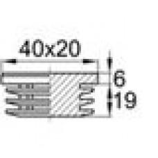 Заглушка пластиковая внутренняя с толстой шляпкой для труб прямоугольного сечения с внешними габаритами сечения 20х40 мм