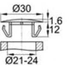 Заглушка пластиковая со шляпкой толщиной 1.6 мм и диаметром 30 мм для отверстия в листовом металле диаметром от 21 мм до 24 мм.