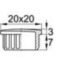 Заглушка пластиковая внутренняя с тонкой шляпкой для труб квадратного сечения с внешними габаритами сечения 20х20 мм и толщиной стенки 1.0 мм