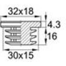 Заглушка пластиковая внутренняя с толстой плоской увеличенной шляпкой размером 18.7x31.7 мм. Подходит для труб с сечением в форме эллипса с внешними габаритами 15х30 мм и толщиной