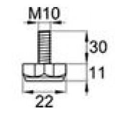 Опора резьбовая с металлическим оцинкованным резьбовым стержнем М10х30 и шестигранным пластиковым основанием 22 мм.