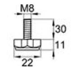 Опора резьбовая с металлическим оцинкованным резьбовым стержнем М8х30 и шестигранным пластиковым основанием 22 мм.
