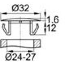 Заглушка пластиковая со шляпкой толщиной 1.6 мм и диаметром 32 мм для отверстия в листовом металле диаметром от 24 мм до 27 мм.