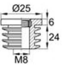 Заглушка пластиковая внутренняя с металлической резьбой М8 для круглых труб Ø25 мм со стенкой 1.0-2.0 мм.