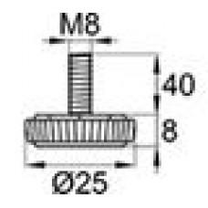 Опора резьбовая М8х40 с круглым основанием D25 мм