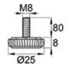 Опора резьбовая М8х80 с круглым основанием D25 мм