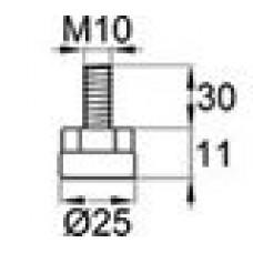 Опора резьбовая с металлическим оцинкованным резьбовым стержнем М10х30 и круглым пластиковым основанием 25 мм.